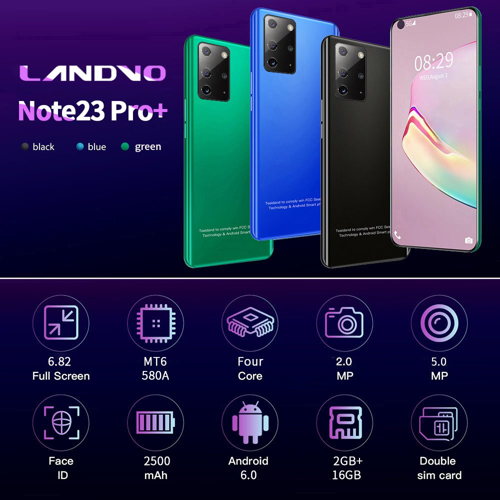 Note23 Pro+ 6.82-inch HD large-screen Android Smartphone 2GB + 16GB (black)