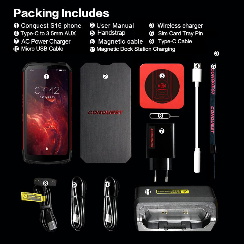 CONQUEST S16 Rugged Android WiFi Smartphone 8GB + 128GB IP68 Shockproof Waterproof (red)