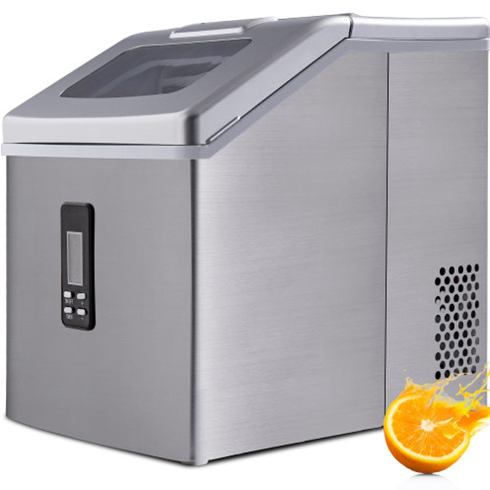 Ice Maker Machine For 48 Lbs/ 24hr Crystal Ice Cubes With Household Ice Shovel Silver