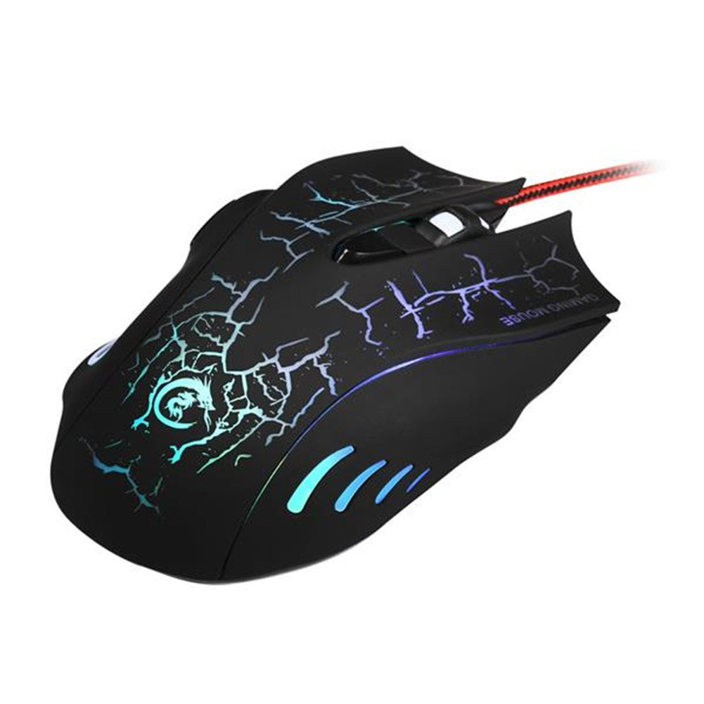 A888 Crack Pattern USB Wired LED Gaming Mouse (black)