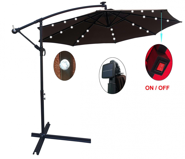 10 ft. Solar Powered LED Lighted Outdoor Patio Umbrella Sun Shade