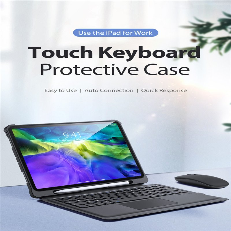 Touch Control Wireless Bluetooth Keyboard For iPAD 7 10.2/ Pro 10.5/ Air3 (Black)