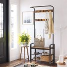 3-in-1 Coat Rack Bench with Storage Shelf For Entryway (Brown + black)