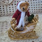SET OF 2 ELEGANT GOLD CHRISTMAS MINI SLEIGH **LOOK SO CUTE WITH BOYD'S WUZZIES**