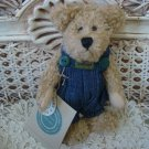 """BOYDS HUCK 6"""" TALL RETIRED BEAR IN JEAN OVERALLS **NEW STORE STOCK**"""