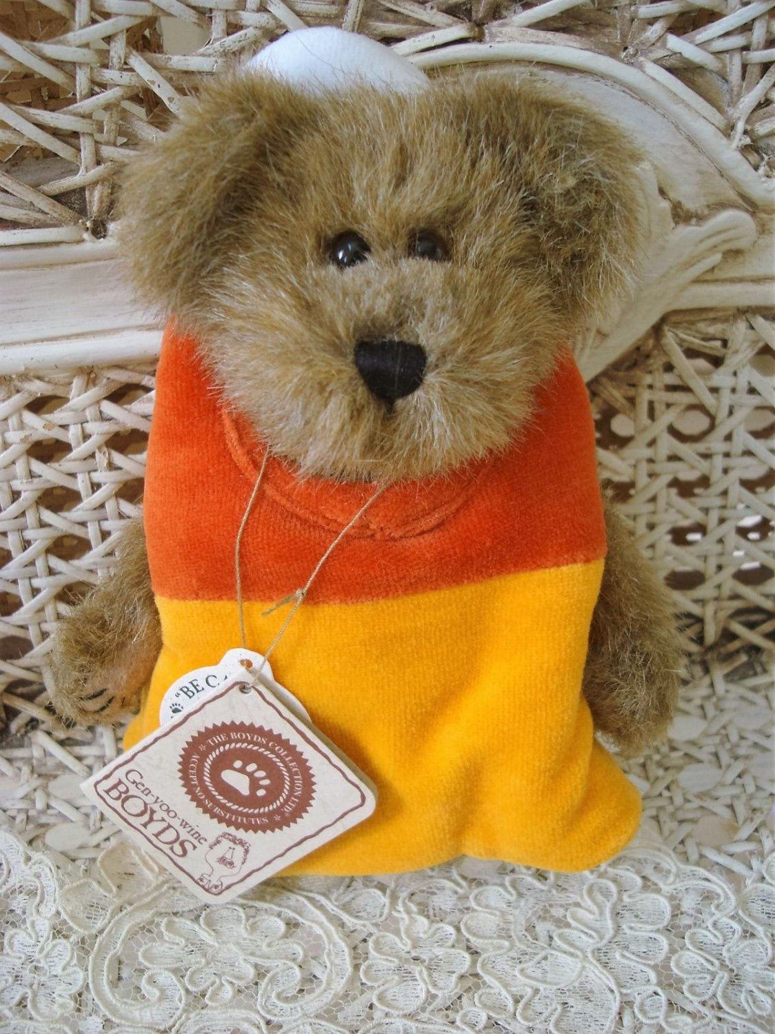 """BOYDS CANDY B CORN 6""""BEAR DRESSED AS A CANDY CORN HALLOWEEN **NEW STORE STOCK**"""