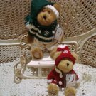BOYDS QVC EXCLUSIVE ALBIN & TOOTIE WHIZZALOG CHRISTMAS BEAR SET WITH WOODEN SLED