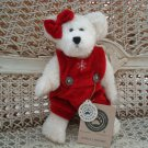 "BOYDS JULIELLA T. FROSTFIRE 8"" HOLIDAY BEAR IN SNOWFLAKE ROMPER*NEW STORE STOCK*"