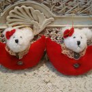 BOYDS 1996 SET OF 2 ADORABLE PLUSH ORNAMENTS ***NEW STORE STOCK*****