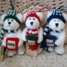 BOYDS SET OF 3 BERRIFROST CHRISTMAS BEAR ORNAMENTS ***NEW STORE STOCK** RETIRED