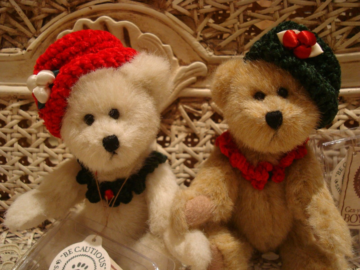 "BOYDS QVC 2002 EXCLUSIVE HOLLIE & IVY ADORABLE 6"" CHRISTMAS BEARS *NEW*"