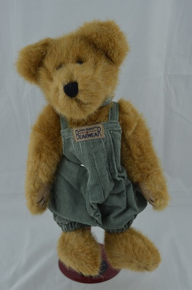 "BOYDS FORREST B. BEARSLEY CUTE 10"" BEAR IN OVERALLS  **NEW STORE STOCK**"