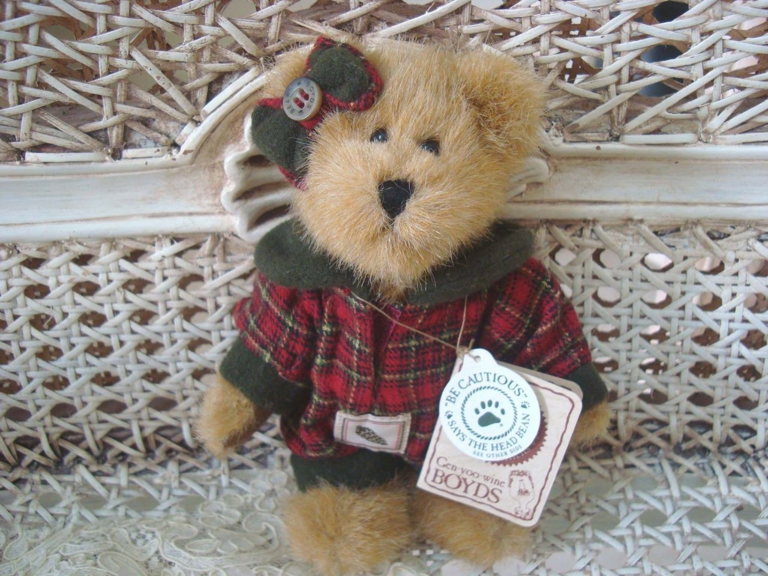 "BOYDS FAWN WOODSBEARY 6"" BEAR IN RED & GREEN JUMPER CHRISTMAS BEAR *NEW*"