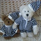 BLACK & WHITE STRIPED PAJAMAS & HAT OUTFIT FOR BOYD'S BEARS ****SO CUTE****