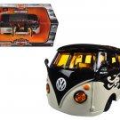 Volkswagen Van Samba Harley Davidson Black and Beige 1/25 Diecast Model Car