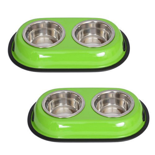 2 Pack Color Splash Stainless Steel Double Diner (Green) Dog/Cat 1 Pt/16oz/2 cup