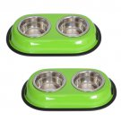 2 Pack Color Splash Stainless Steel Double Diner (Green) Dog/Cat 1 Pt/16oz/2 cup