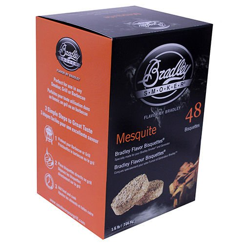 Bradley Technologies Smoker Bisquettes Mesquite (48 Pack) Clean Smoke Flavor