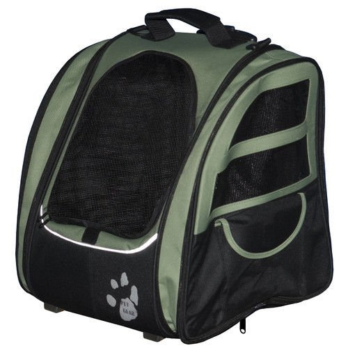 Pet Gear I-GO2 Traveler Pet Carrier Sage Backpack Carrier Car Seat