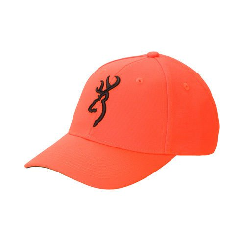 Brownings Famous Orange Safety Cap with a Raised 3D Buckmark Blaze in Black