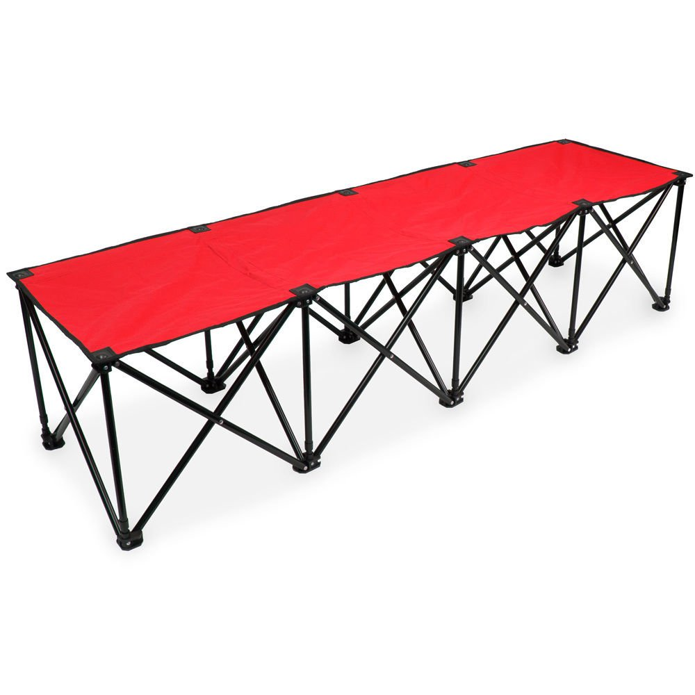 Crown Sporting Goods 6-Foot Portable Folding 4 Seat Bench Red