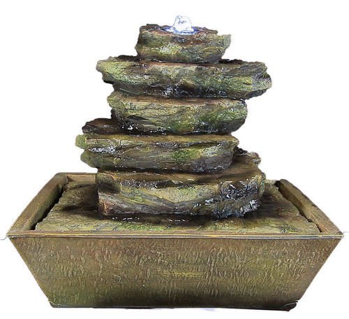 Cascading Rocks Tabletop Fountain LED Lights by Sunnydaze Decor