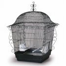 "Elegant Scrollwork Bird Cage Black 18"" L x 18"" W x 25"" H 2 Perches 2 cups"
