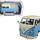 Volkswagen Type 2 (T1) Double Cab Pickup Truck Blue/Cream 1/24 Diecast Model Car