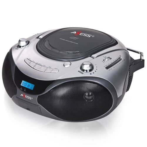 Axess Portable CD/MP3 Boombox with AM/FM Stereo and Aux Input