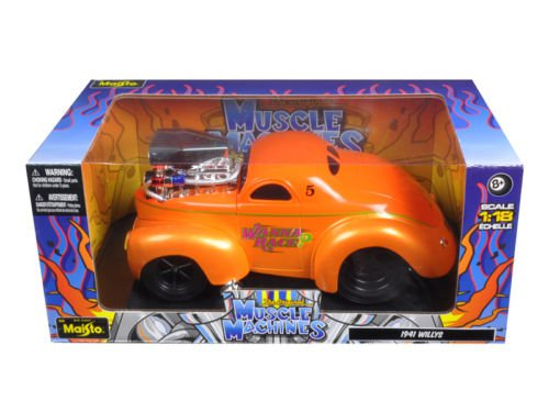 "1941 Willys Coupe Metallic Orange ""Muscle Machines"" 1/18 Diecast Model Car"