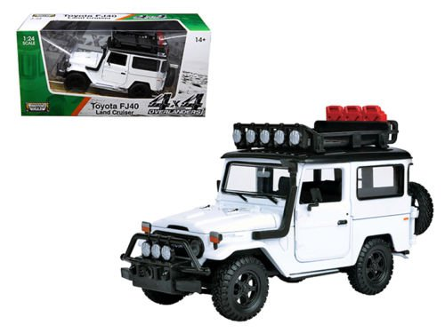 "Toyota FJ40 Land Cruiser White ""4x4 Overlanders"" Series 1/24 Diecast Model Car"
