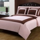 5PC Cotten Duvet Cover Set 1 Ply Chocolate Pink