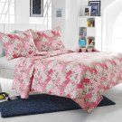 3pc Pink Floral Patchwork Quilt Set Style 1044 Cherry Hill Collection Full/Queen