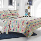 3pc Beige Love Hearts Quilt Set Style 1019 Cherry Hill Collection Full/Queen