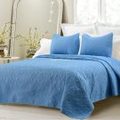 Oversized 3 Piece Quilted Coverlet Set  Blue King