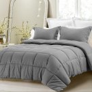 3pc Reversible Solid/Emboss Striped Comforter Set Oversized Overfilled Queen