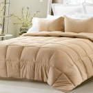 3pc Reversible Solid/Emboss Striped Comforter Set Oversized Overfilled Full