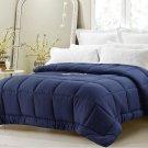 Super Oversized Down Alternative Comforter Pillow Top Beds Navy Queen