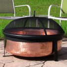 "Sunnydaze Hammered Copper Fire Pit 30""W x 12""D x 10""H Pit Screen & Cover"