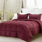 3pc Reversible Solid/Emboss Striped Comforter Set Oversized Overfilled Wine Full