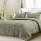 3PC Reversible Solid EmbossStriped Comforter Set Oversized OverFilled Sage Queen