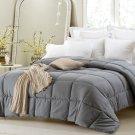 Super Oversized Down Alternative Comforter Fits Pillow Top Gray Queen