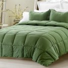 3pc Reversible Solid/ Emboss Striped Comforter Set Oversized Overfilled Queen