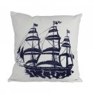 "Blue Tall Ship Decorative Nautical Throw Pillow 16"" L x 16"" W x 6"" H"