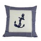 """Blue Anchor Nautical Stripes Decorative Throw Pillow 16"""" L x 16"""" W x 6"""" H"""