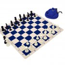 Silicone Pieces and Board Chess Set Combo With Drawstring Bag Navy