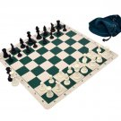 Silicone Pieces and Board Chess Set Combo With Drawstring Bag Green