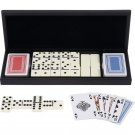 Alex Navarre 28 Piece Domino Set With 2 Decks Of Cards In Wood Gift Box