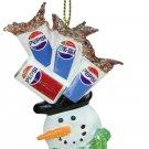"4"" Glittered Snowman Head Balancing Pepsi Christmas Ornament"