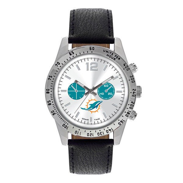 Miami Dolphins Mens Leather Watch Letterman Quartz Analog Silver Round Warranty
